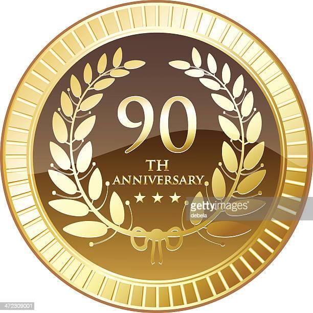 ninetieth anniversary shield - medallion stock illustrations, clip art, cartoons, & icons