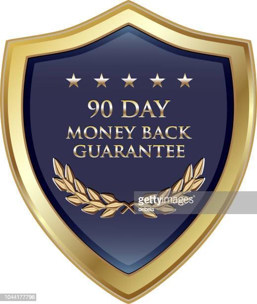 90 日のお金の背部保証高級金の盾 - 数字の90点のイラスト素材/クリップアート素材/マンガ素材/アイコン素材