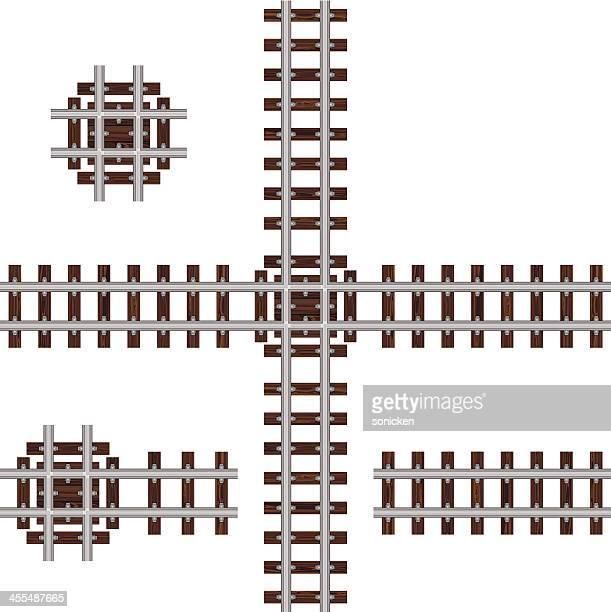 ninety degree crossing track - rail freight stock illustrations, clip art, cartoons, & icons