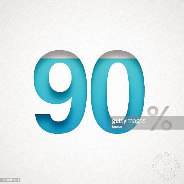 「90 %の設計(90% )-ブルー番号を水彩画紙 - 数字の90点のイラスト素材/クリップアート素材/マンガ素材/アイコン素材