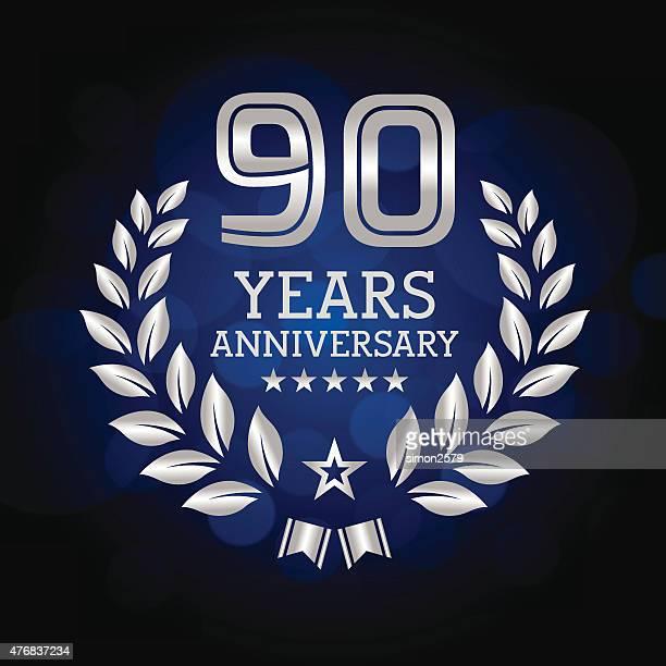 90 年周年記念エンブレム - 数字の90点のイラスト素材/クリップアート素材/マンガ素材/アイコン素材