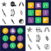Ninja All in One Icons Black & White Color Flat Design Freehand Set