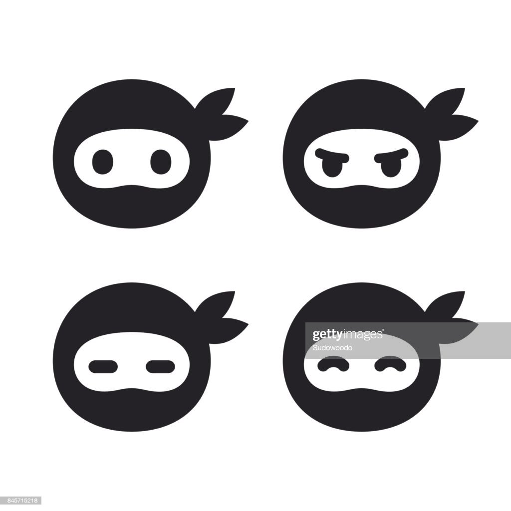 Ninja face icon set