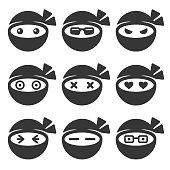Ninja Face Icons Set