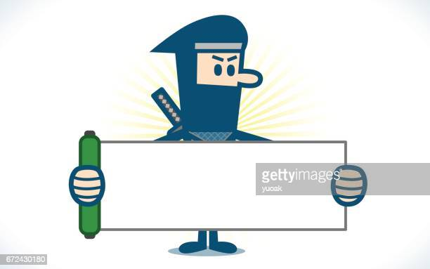 ninja holding a blank sign - only japanese stock illustrations, clip art, cartoons, & icons