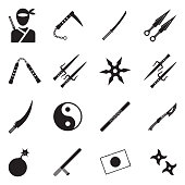 Ninja Icons. Black Flat Design. Vector Illustration.