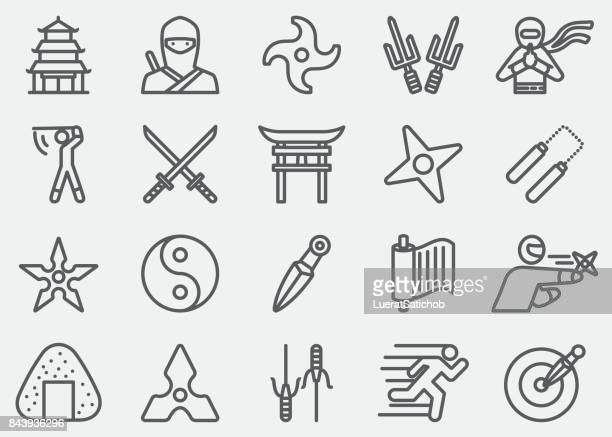 ninja line icons - razor blade stock illustrations, clip art, cartoons, & icons