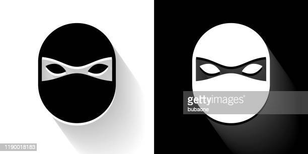 ninja mask black and white icon with long shadow - black mask disguise stock illustrations