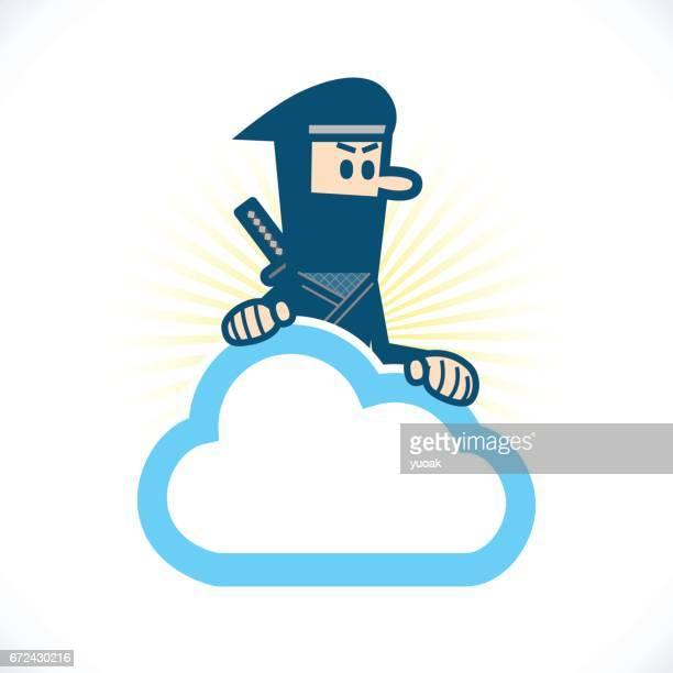 ilustraciones, imágenes clip art, dibujos animados e iconos de stock de ninja en la nube - stealth