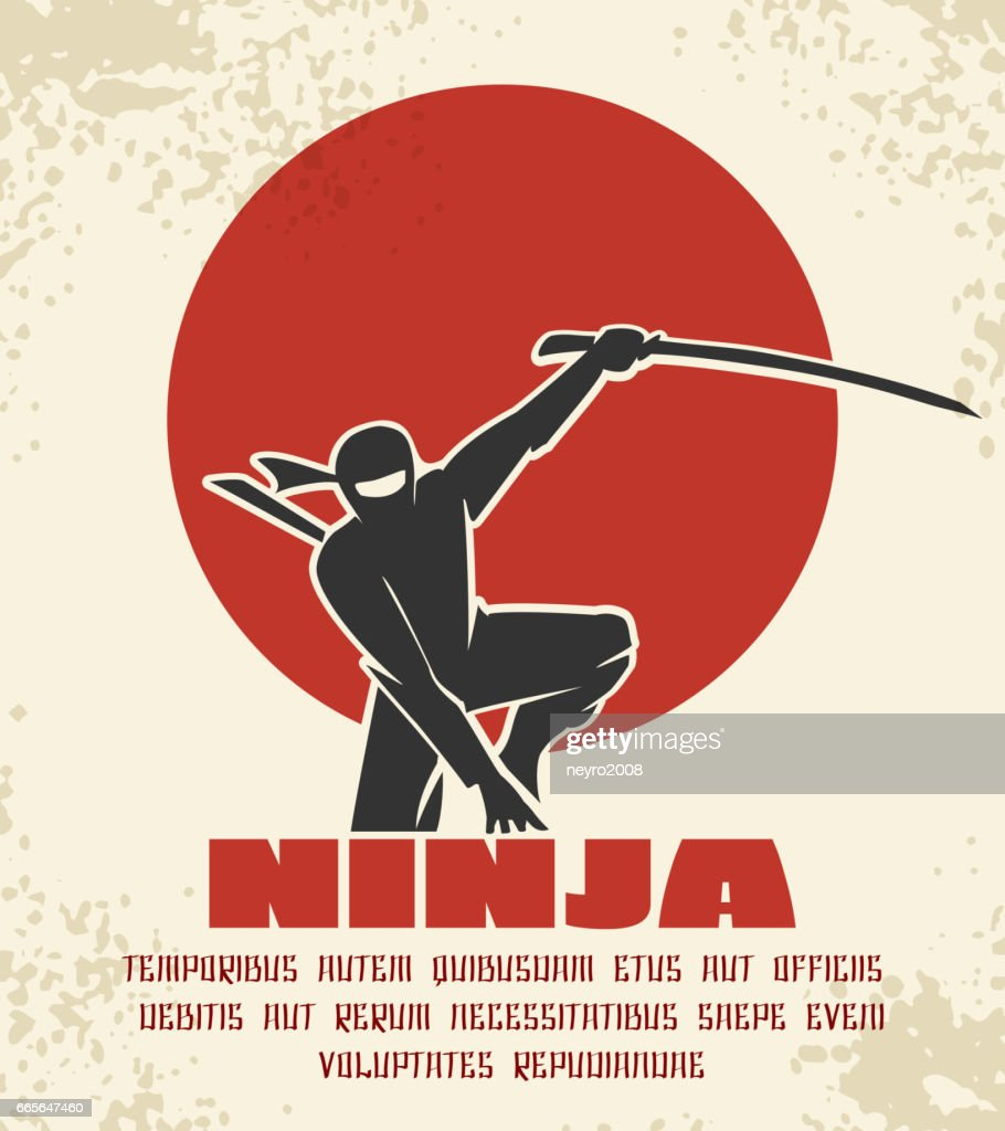Ninja retro poster vector illustration. Black silhouette of japanese fighter on red sun background