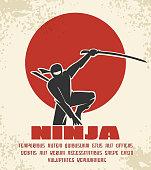 Ninja retro poster vector illustration. Black silhouette of japanese fighter on red sun background