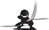 Ninja Samurai Warrior Fighter Character Cartoon Martial Art Weapon Swords