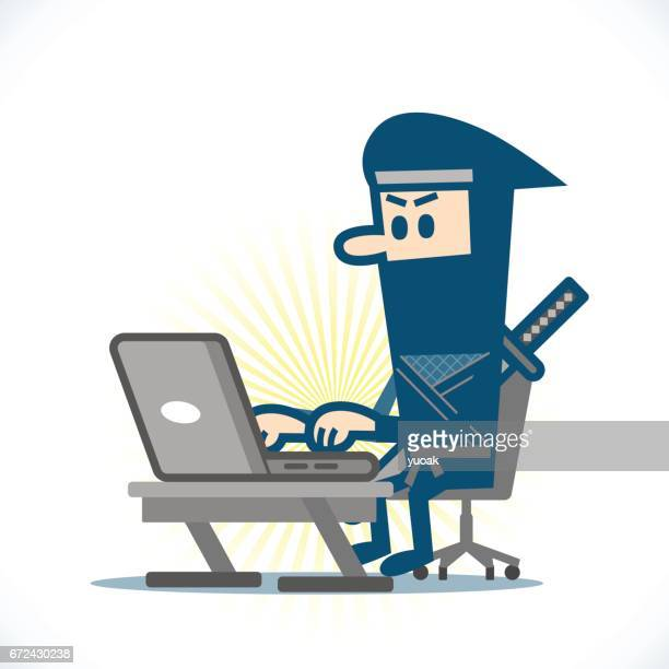 ninja using a laptop - only japanese stock illustrations, clip art, cartoons, & icons