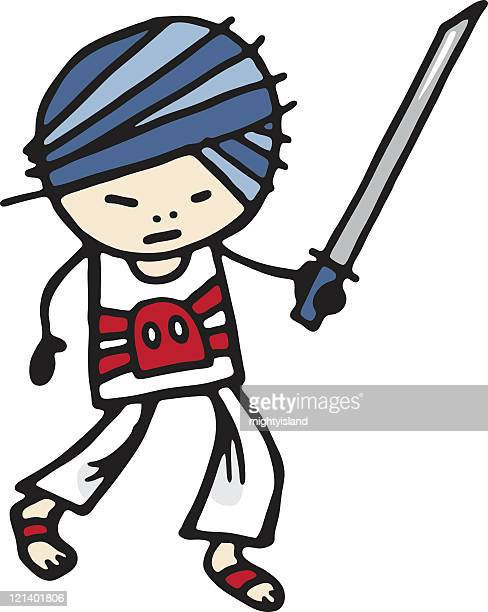 ninja - only japanese stock illustrations, clip art, cartoons, & icons