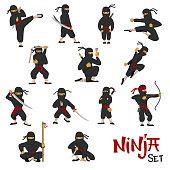 Ninja vector warrior set of cartoon character ninjitsu in various poses samurai in fighting action isolated on white background