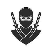Ninja warrior mascot logo vector