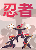 Ninja warrior unbeatable stickman character in various action vector illustration. Cartoon fighters with different weapons, karate sticks, bo, swords. Ninja with costume accessory kit poster.