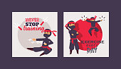 Ninja warrior vector illustration. Cartoon unbeatable character in various positions poster. Never stop training, exercise everyday concept. Fighters with different weapons.