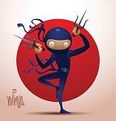 Ninja warrior with daggers sai