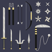 Ninja weapon set. Katana, sai, kunai, nunchacku, shuriken, kusarigama, bow and arrows. Cartoon style. Clean and modern vector illustration for design, web.