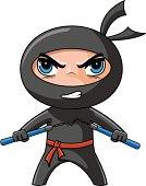 Ninja with nunchaku