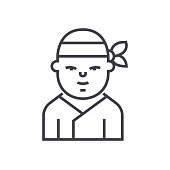 ninja,japanese vector line icon, sign, illustration on background, editable strokes