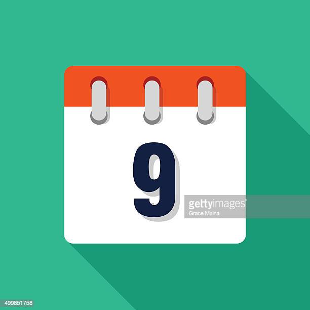Ninth flachen Design-Kalender-Symbol-VEKTOR