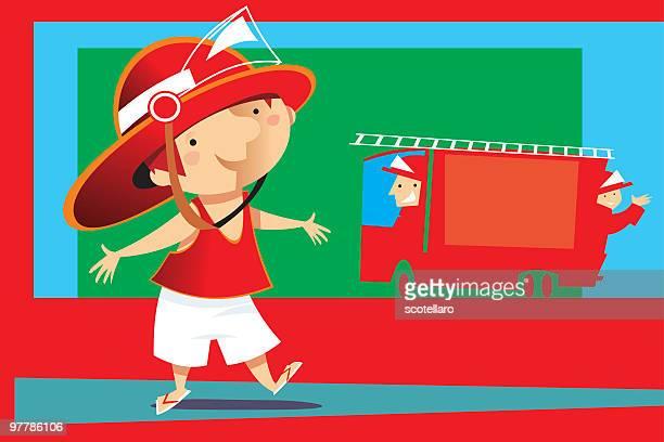 niño bombero - helmet visor stock illustrations, clip art, cartoons, & icons