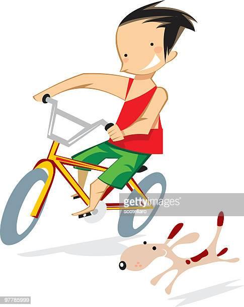 niño en bicicleta con perro - bicicleta stock illustrations
