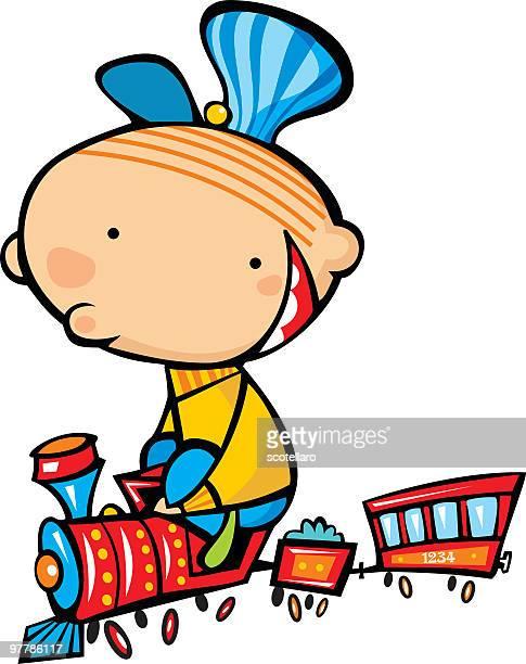 niño en tren - miniature train stock illustrations, clip art, cartoons, & icons