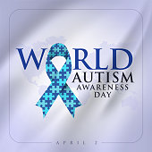 2 Nisan Dünya Otizm Farkındalık Günü. Translation: World Autism Awareness Day. Puzzle ribbon vector design sign. Symbol of autism.