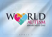 2 Nisan Dünya Otizm Farkındalık Günü. Translation: World Autism Awareness Day. Puzzle ribbon vector design sign. Symbol of autism.