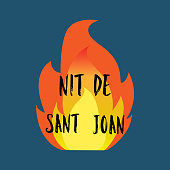 Nit de Sant Joan. Night of Saint John in catalan language , magical evening to celebrate the summer solstice, festive poster. Traditional festival in Spain.