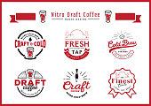 nitro draft coffee badge design set
