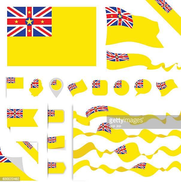 niue flag set - samoa stock illustrations, clip art, cartoons, & icons