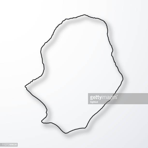 Niue map - Black outline with shadow on white background