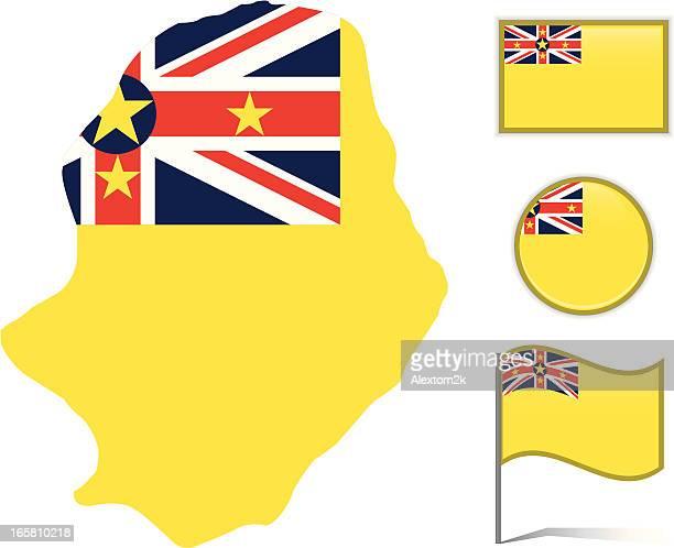 Niue map & flag