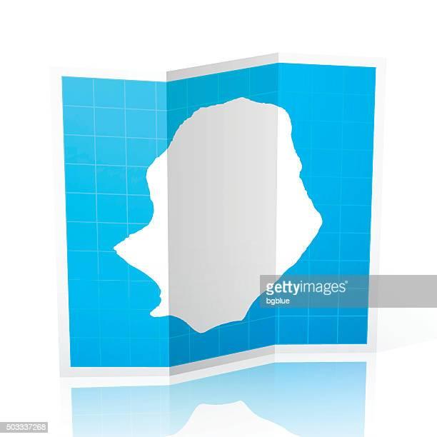 Niue Map folded, isolated on white Background