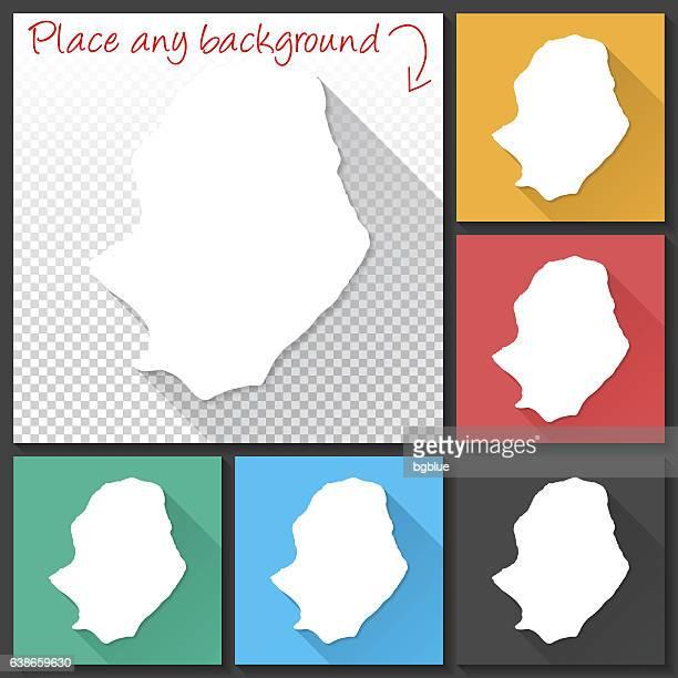 Niue Map for design, Long Shadow, Flat Design