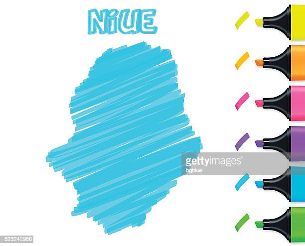 Niue map hand drawn on white background, blue highlighter