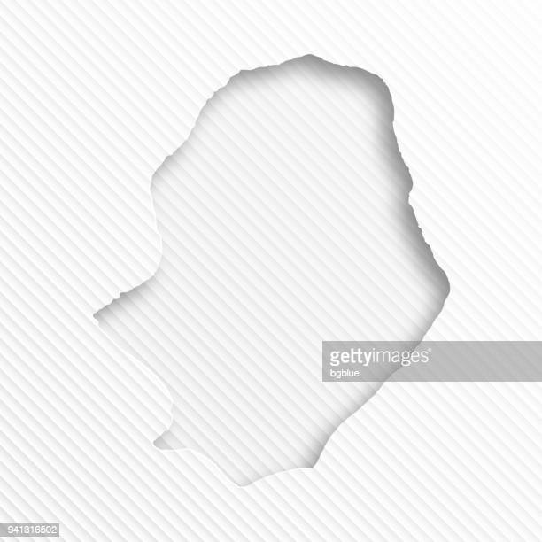 Niue map with paper cut on abstract white background