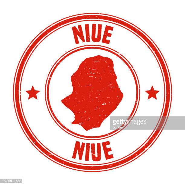 Niue - Red grunge rubber stamp with name and map