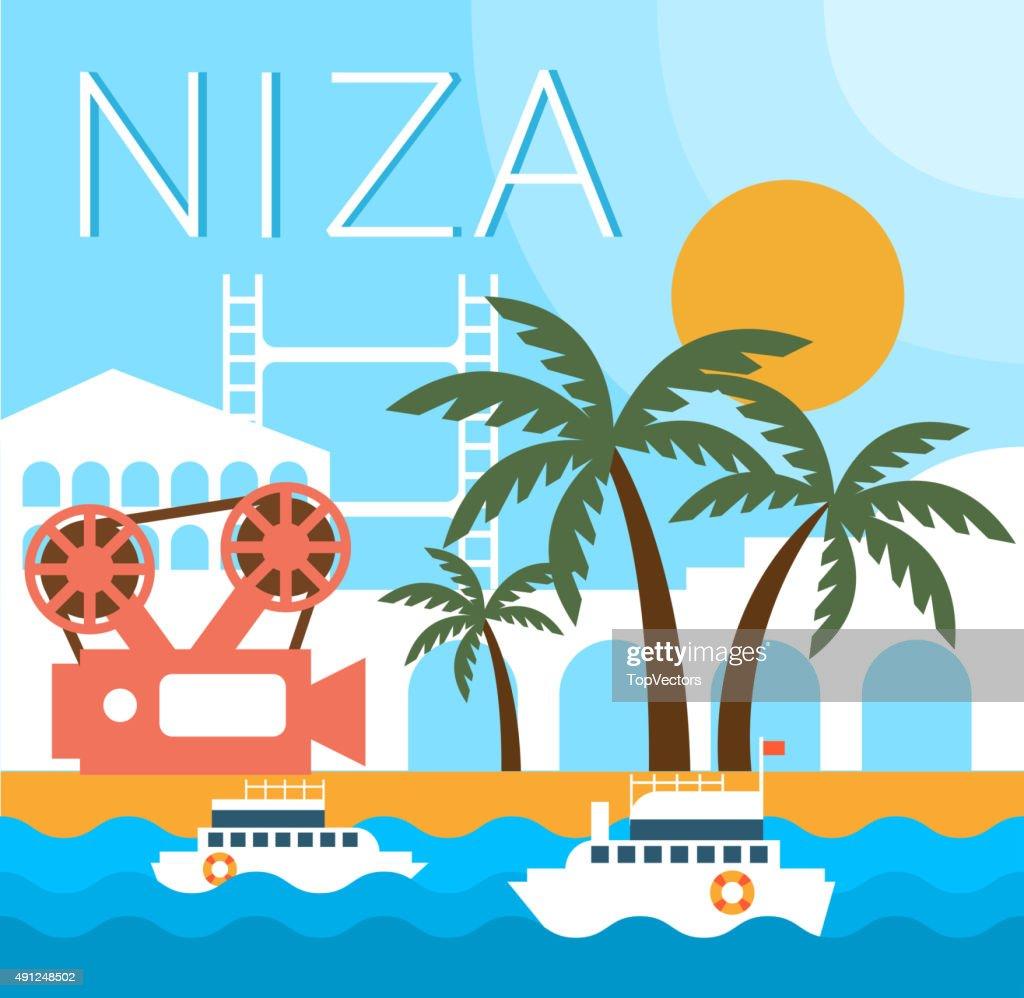 Niza Traditional Landscape Vector Illustration