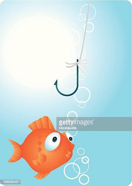 """illustrations, cliparts, dessins animés et icônes de pas d'appât """"une douce illusion. - poisson rouge"""