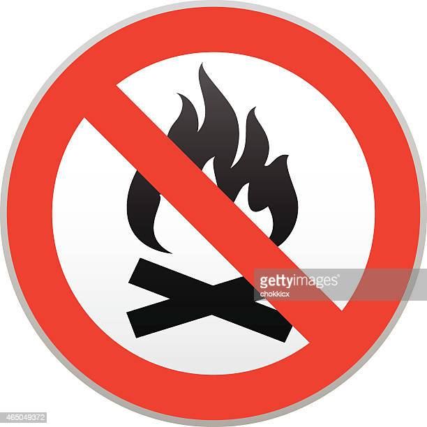 no campfire warning - forbidden stock illustrations