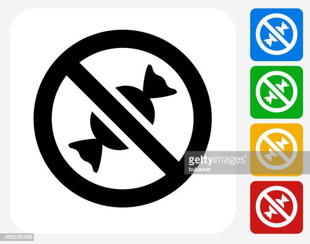No Candy Allowed Icon Flat Graphic Design