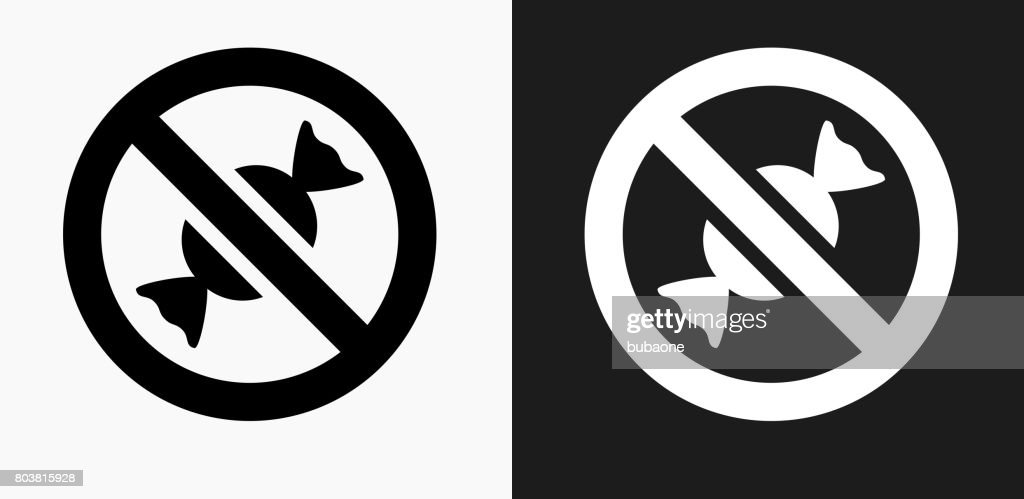 No Candy Allowed Icon On Black And White Vector ...
