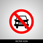 No car or transport sign, vector illustration