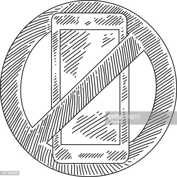 No Cellphone Sign Drawing