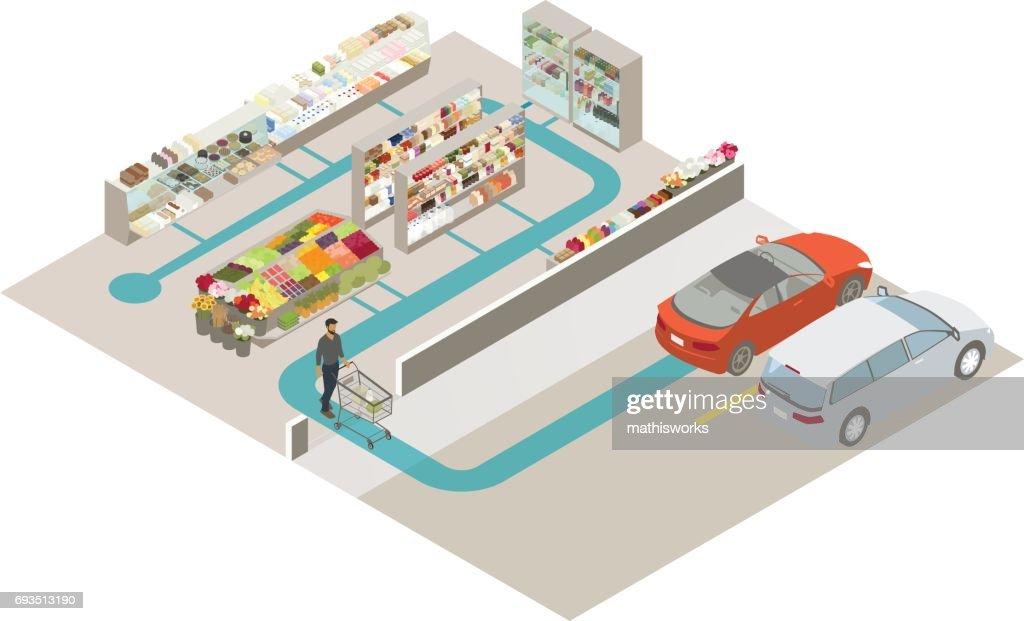 No Checkout Shopping Illustration : Vector Art